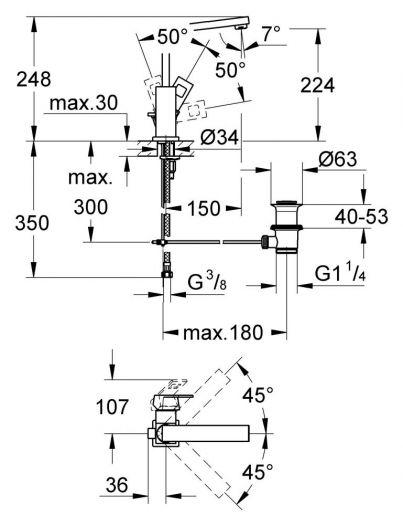 Смеситель Grohe Eurocube 2313500E для раковины