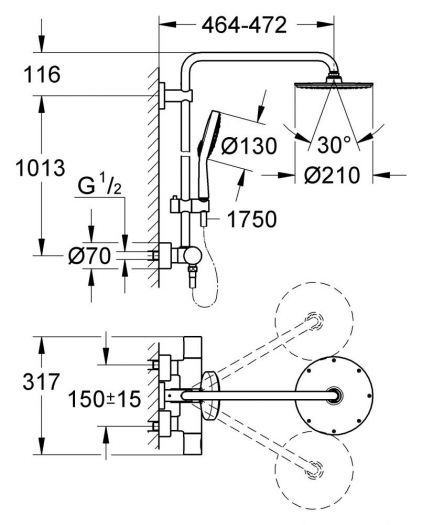 Душевая система Grohe Rainshower 27967000