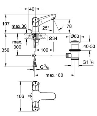 Смеситель Grohe Costa L 21390 001 для раковины, с гибкой подводкой и д/клапаном