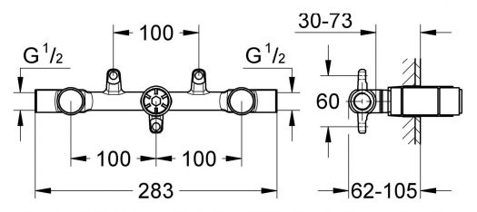 Смеситель для раковины на три отверстия Grohe 32706 000 (скрытая часть)