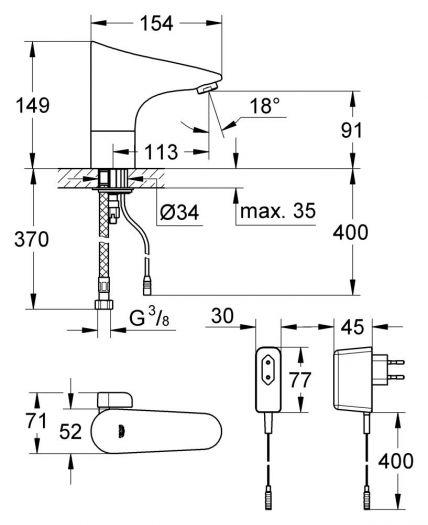 Смеситель Grohe Europlus E 36015001 для раковины