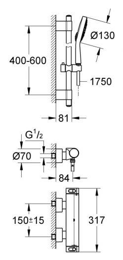 Душевой гарнитур с термостатом Grohe Grohtherm 2000 New 34281001