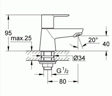 Вентиль вертикальный Grohe BauEdge 20421000