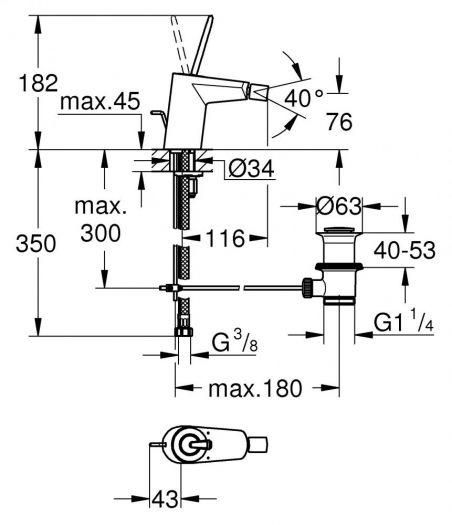 Смеситель Grohe Eurodisk Joystick 24036 LS0, для биде, со сливным гарнитуром
