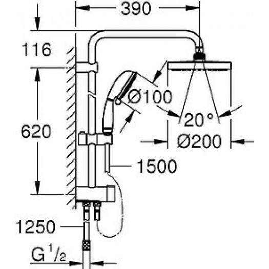 Душевая система Grohe New Tempesta Rustic 200 27399002 (27399001) с переключателем