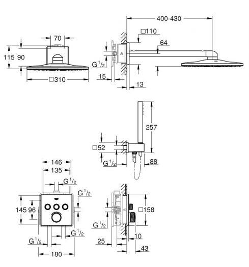 Душевой комплект Grohe Grohtherm 34706000 SmartControl , верхний душ квадратный