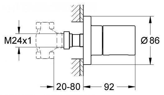 Внешняя часть Grohe Grohtherm 3000 Cosmopoliten 19470000 запорно-переключающего устройства