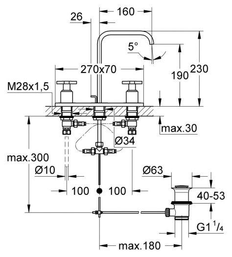 Смеситель Grohe Allure 20143000 для раковины на 3 отв. с керамическим вентилем