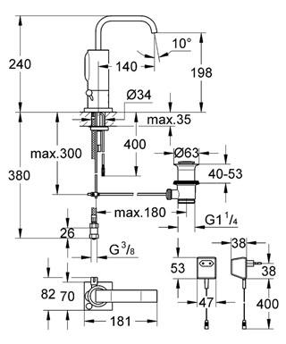 Смеситель Grohe Allure E 36097000 для раковины