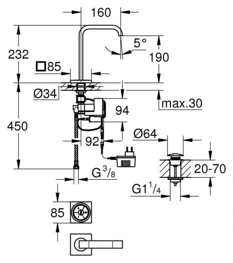 Смеситель Grohe Allure F-digital 36342000 для раковины