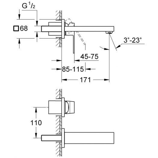 Смеситель Grohe Eurocube 19895 000 для раковины, внешняя часть, S-Size