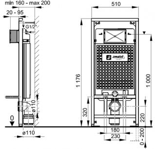 Система инсталляции SMARTsant для подвесного унитаза с кнопкой A101/1200