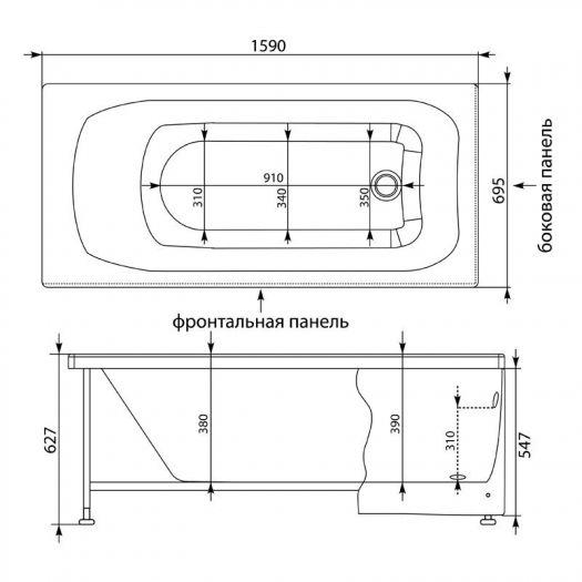 Акриловая ванна Aquanet Roma 160x70