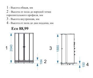 Душевая кабина Domani-Spa Eko 88без крыши 80x80 тонированная