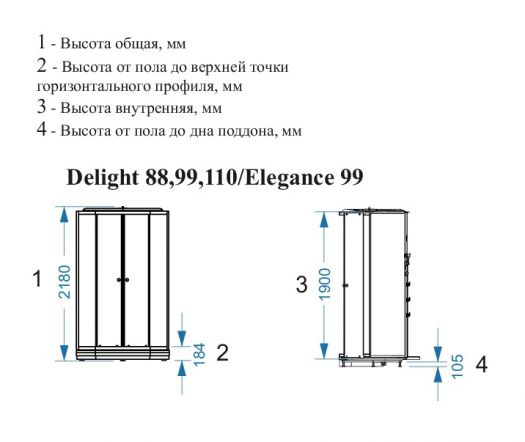 Душевая кабина Domani-Spa Delight 88 прозрачная 80x80 с блоком управления и гидромассажем