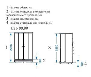 Душевая кабина Domani-Spa Eko 99 без крыши 90x90 матовая