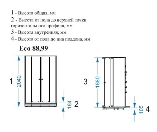 Душевая кабина Domani-Spa Eko 99 без крыши 90x90 прозрачная