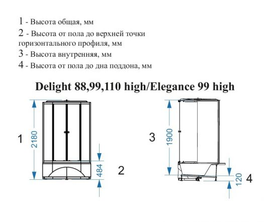 Душевая кабина Domani-Spa Delight 99 High 90x90 матовая