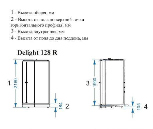 Душевая кабина Domani-Spa Delight 128 L/R прозрачная 120x80 с блоком управления и гидромассажем