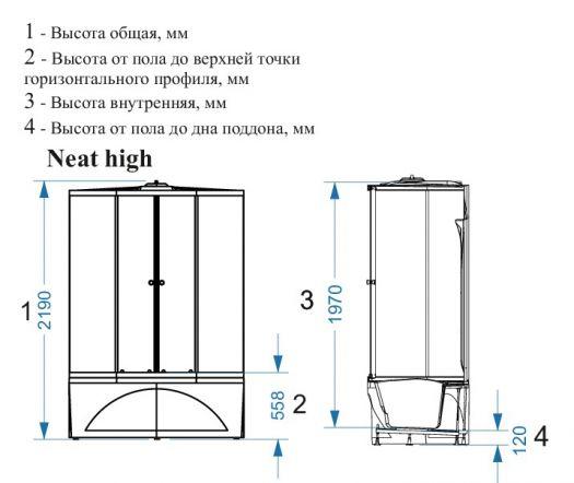 Душевая кабина Domani-Spa Neat High тонированная 150x80 с блоком управления и гидромассажем