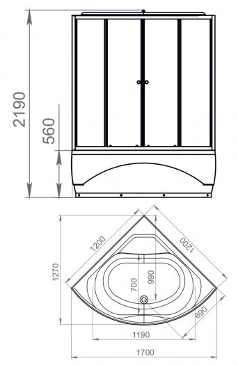 Душевая кабина Domani-Spa Vitality High прозрачная 120x120