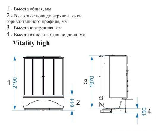 Душевая кабина Domani-Spa Vitality High тонированная 120x120 с блоком управления и гидромассажем
