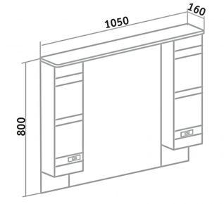 Шкаф зеркальный Runo Турин 105 R
