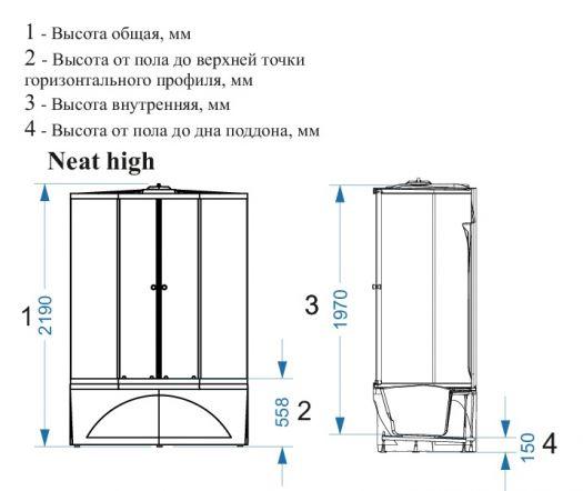 Душевая кабина Domani-Spa Neat High матовая 150x80