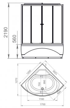 Душевая кабина Domani-Spa Vitality High тонированная 120x120