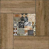 Плитка напольная Alma Ceramica Ранчо Декор в коричневой рамке 41,8х41,8